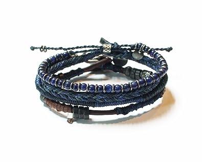 e446cf16bd48 Wakami hecho a mano piel Hip amistad trenzado azul 4 pulseras de tierra   Etsy pulsera Maya   único Unisex día de San Valentín Regalo  Lis Giron   Amazon.es  ...