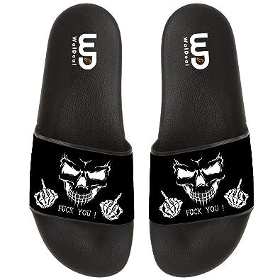 26b5bc6d359999 OriginalHeart Funny Skull Fuck You Print Summer Casual Slide Slippers for  Boys Girls Soft Open-