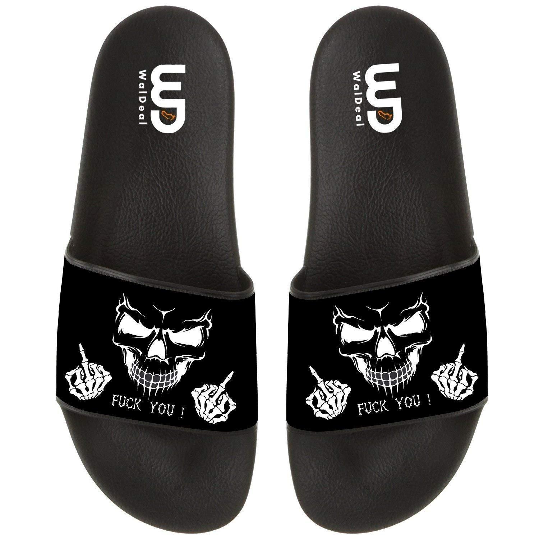 Funny Skull Fu-k You Finger Print Summer Slide Slipper for Men Women Indoor Outdoor Open-Toe Beach Shoes