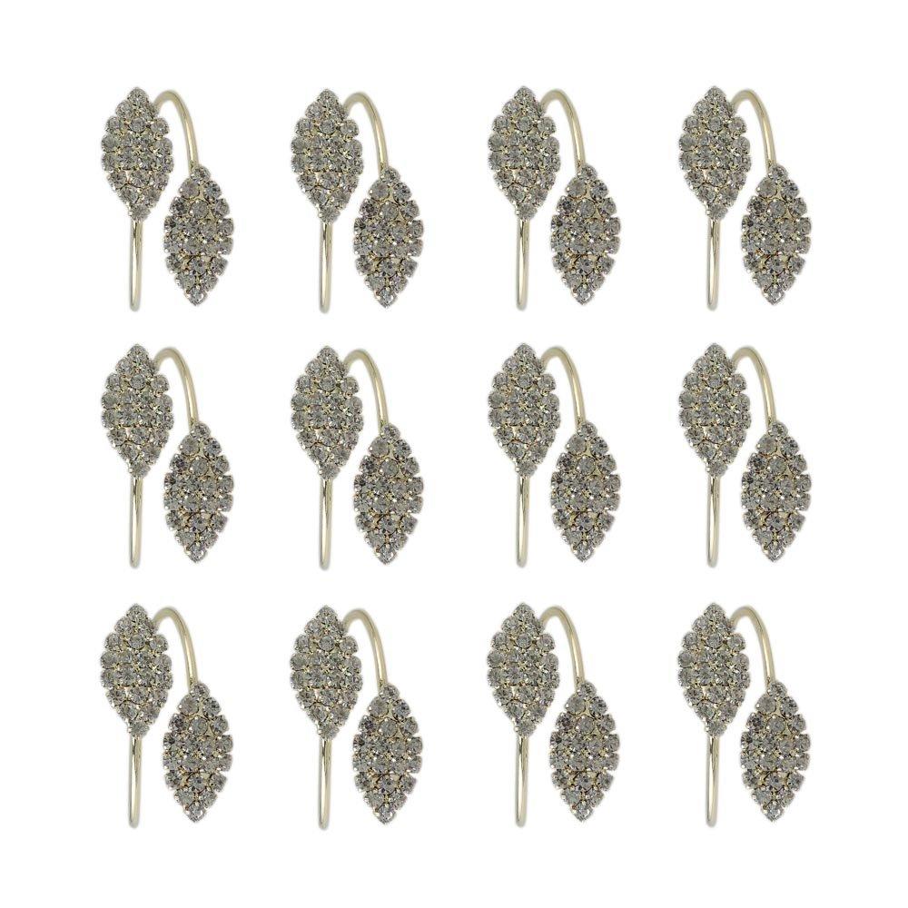 iDili Napkin Rings Set of 12 Pcs Rhinestone Napkin Ring Holders Pack of 12 Handmade Serviette Buckles for Wedding Party and Dinner
