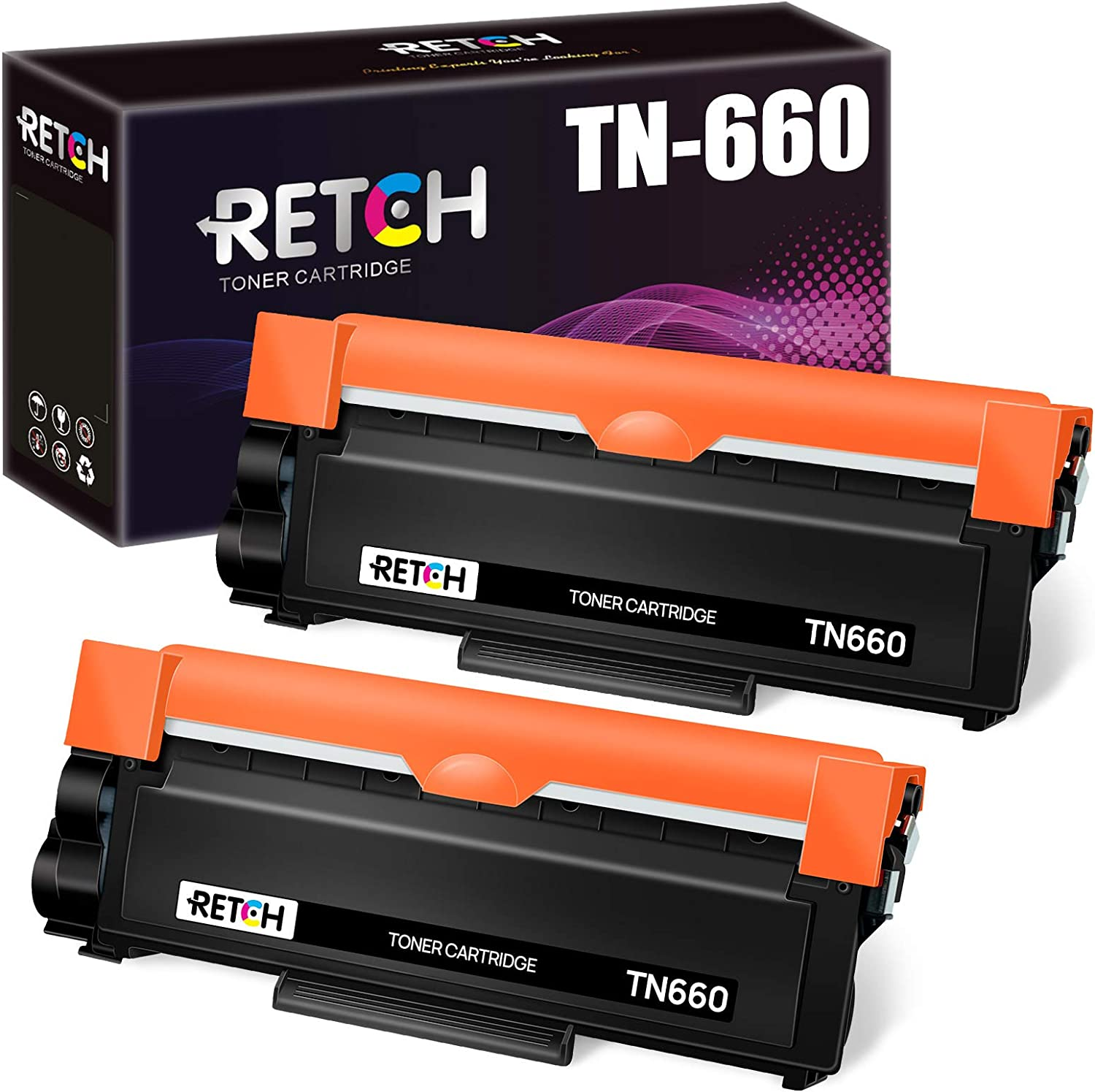 RETCH Compatible Toner Cartridges Replacement for Brother TN660 TN-660 TN630 to use for Brother HL-L2300D HL-L2320D HL-2340DW HL-L2380DW MFC-L2720DW MFC-L2740DW DCP-L2540DW DCP-L2520DW(2 Black)