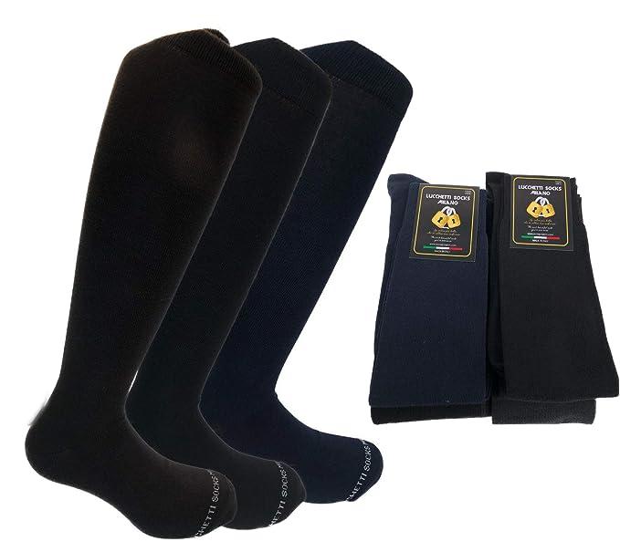 aa1a76006572d0 Lucchetti Socks Milano 6 PAIA di calze calzini UOMO LUNGHE caldo cotone  ELASTICIZZATE,100% Made in Italy (39-42 NERO): Amazon.it: Abbigliamento