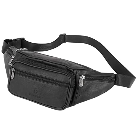 143864363cd ZZNICK Genuine Leather Fanny Pack for Men and Women, Classic Style Belt Bag,  Multifunction