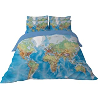 Amazon sisbay unique bedding exotic ethnic barcelonamodern ktlrr world map bedding duvet cover set for kids vivid printed blue children bedding set twin gumiabroncs Choice Image