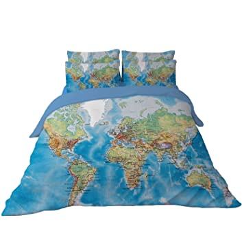Amazon ktlrr world map bedding duvet cover set for kids vivid ktlrr world map bedding duvet cover set for kids vivid printed blue children bedding set twin gumiabroncs Choice Image
