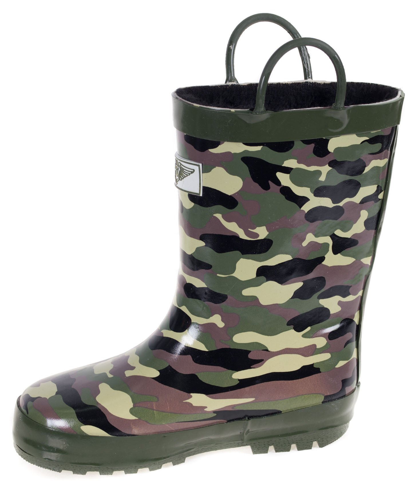 Boys Rain Rubber Boots, Best Warm Faux Fur Lined for Boys, Camo Army, Size 13 by Forever Young (Image #2)