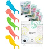 Piico Dental Floss Picks, Dual Line Unflavored Kids Flossers Without Fluoride, Fun & Colorful Designs with Slim Kids Floss &