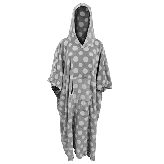 Womens/Ladies Hooded Polka Dot Dressing Gown Poncho (One Size) (Grey ...