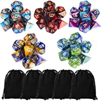 35 Pieces Polyhedral Dice, Double-Colors Polyhedral Game Dice with 5 Pack Black Pouches for RPG Dungeons and Dragons Pathfinder DND RPG MTG D20 D12 D10 D8 D6 D4 Table Game