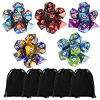 35 Pieces Polyhedral Dice, Double-Colors Polyhedral Game Dice 5 Pack Black Pouches RPG Dungeons Dragons Pathfinder DND RPG MTG D20 D12 D10 D8 D6 D4 Table Game