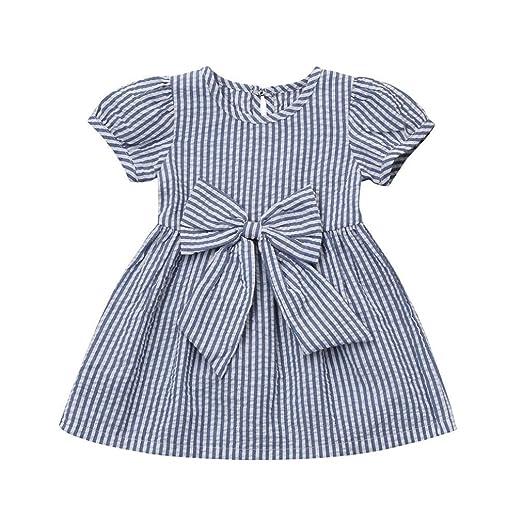3fb901bea3e6 Baby Girls Infant Toddler Kids Cute Short Sleeve Stripe Dresses Big Bow Princess  Outfits Dress (
