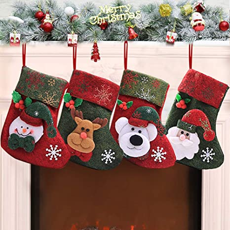 XinXu 4 Pack Mini Calcetines de Navidad para Regalo y Bolsa de Tratamiento, para Regalos