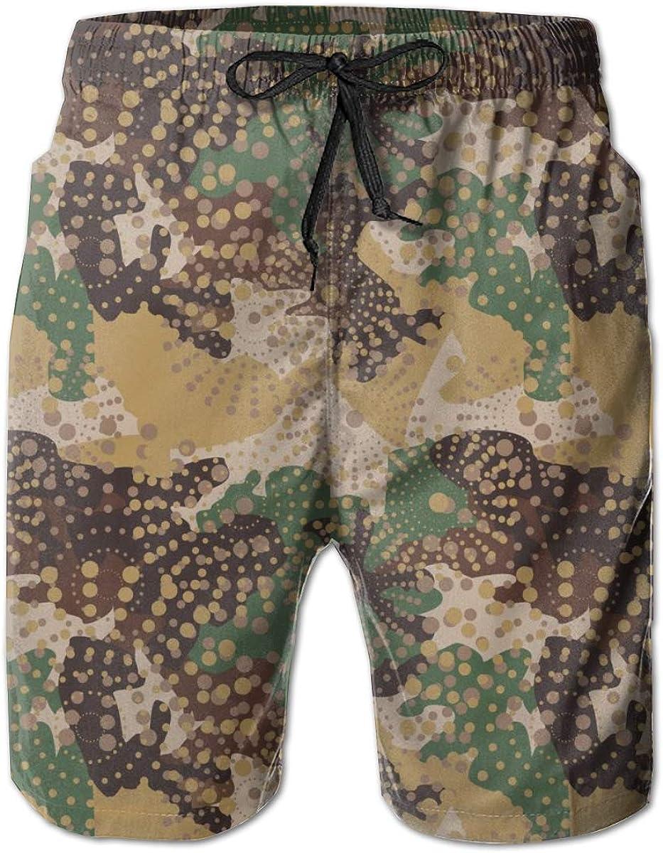Yeates Flower Mens Swim Trunks Quick Dry Desert Army Digital Camo Printed Summer Beach Shorts Board Beach Short