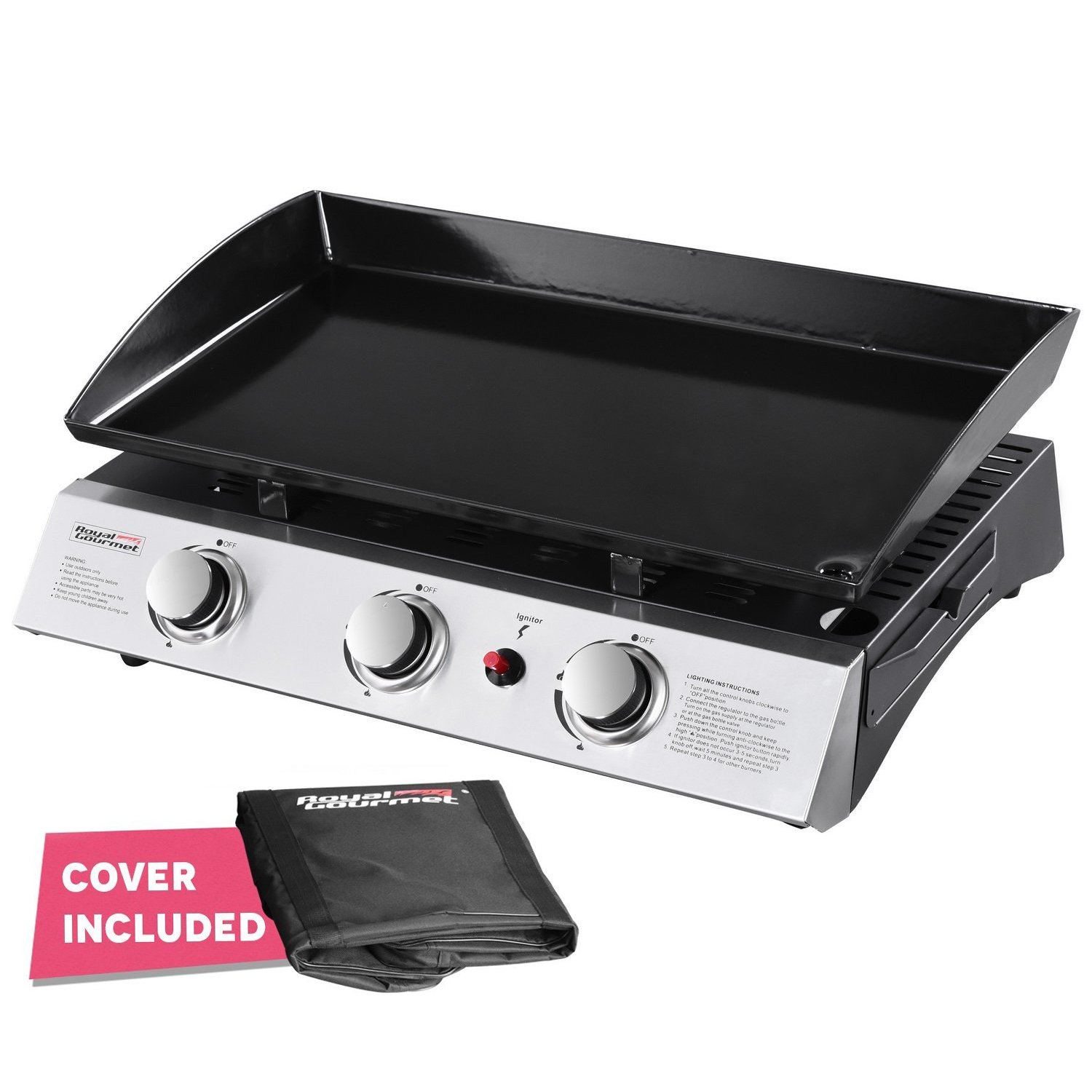 5. Royal Gourmet PD1300 Portable 3-Burner Propane Gas Grill Griddle