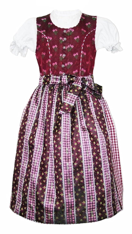 Isar Trachten Kinder Dirndl Jasmin Beere 3-tlg. - Mädchen Kleid mit Schürze und Bluse Gr. 98-128