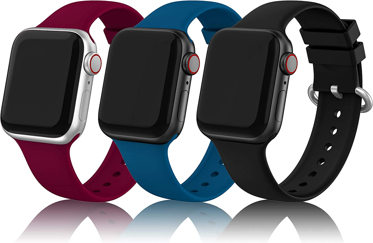 EDIMENS Sports Silicone Bands Compatible with Apple Watch 38mm 40mm Women, 3 Pack Soft Bands Wristbands Compatible for Apple Watch iWatch Series 6 5 4 3 2 1 SE Sport Edition Women Men