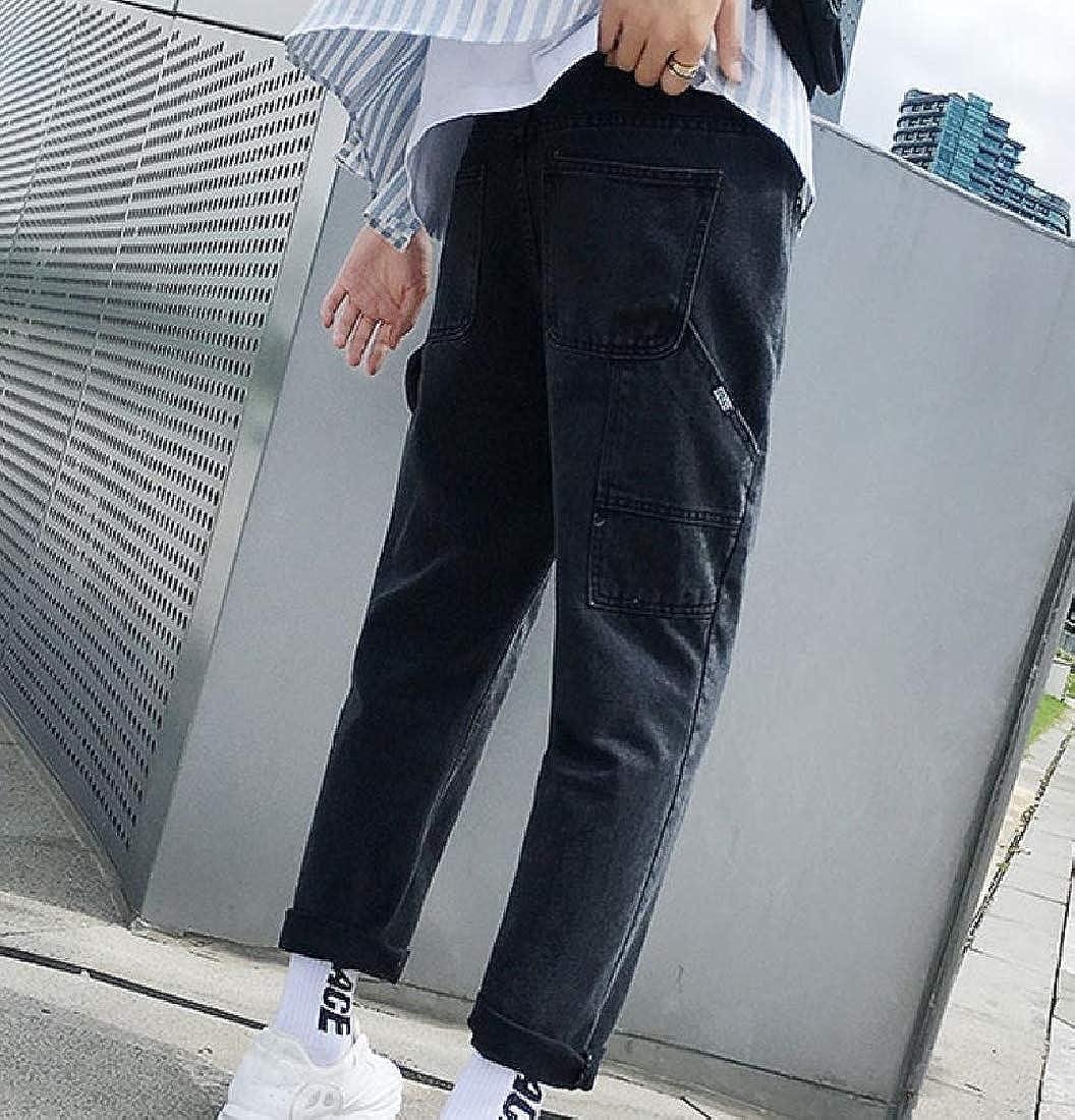 Winwinus Mens Wide-Leg Harem Straight Leisure Ankle Jeans with Big Pockets