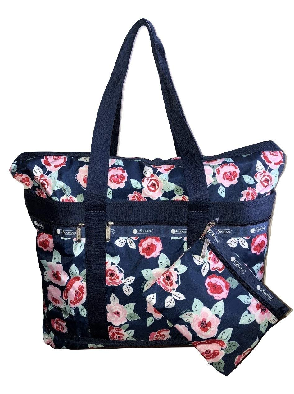 LeSportsac Navy Rose Travel Tote + Matching Cosmetic Bag