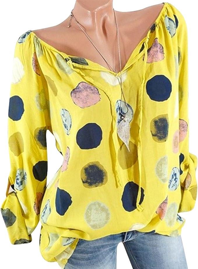 Blusa de chifón de Lunares para Mujer V Cuello Corbata enrollar ...