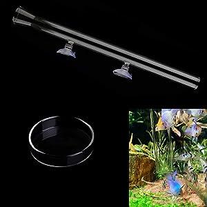 IAFVKAI Aquarium Clear Glass Shrimp Feeding Tube with Fish Food Dish 2 in 1 Feeder Tube for Fish Tank with 2pcs Suction Cups