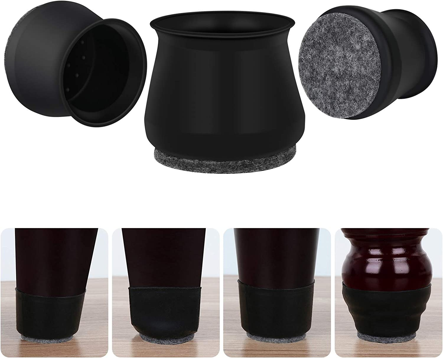 Upgrade Chair Leg Floor Protectors, 20 pcs Black Silicone Felt Bottom Chair Leg Covers, Furniture Feet Pads for Hardwood Floors, Stool Table Leg Protector Caps to Prevent Scratches Noise(Medium)