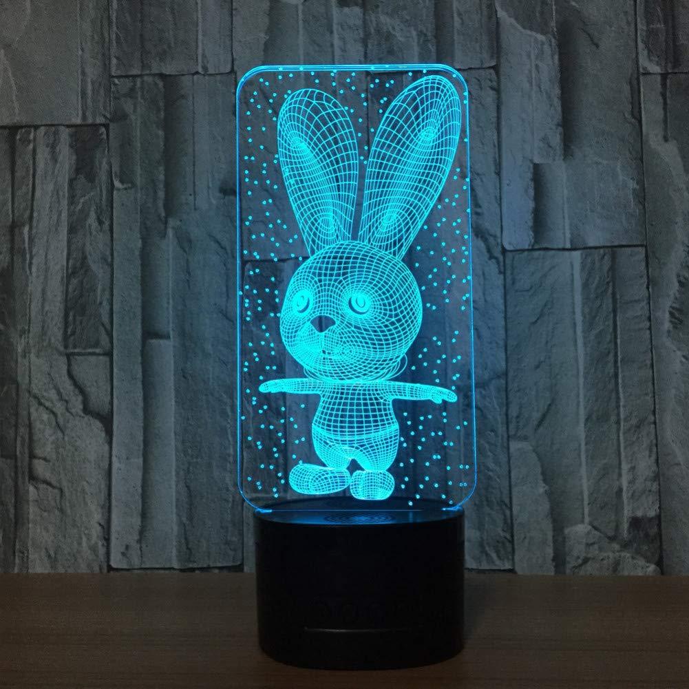 Remote Speakers Limhua Kaninchen 3D Illusion Led Tier Tischlampe Nachtlicht 7 Farbwechsel Wohnzimmer Bettlampe Tischlampe,Remote-   Lautsprecher