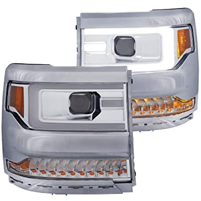 AnzoUSA 111374 Chevy Silverado 1500 16-18 Projector Plank Style Headlights Chrome Amber: Automotive