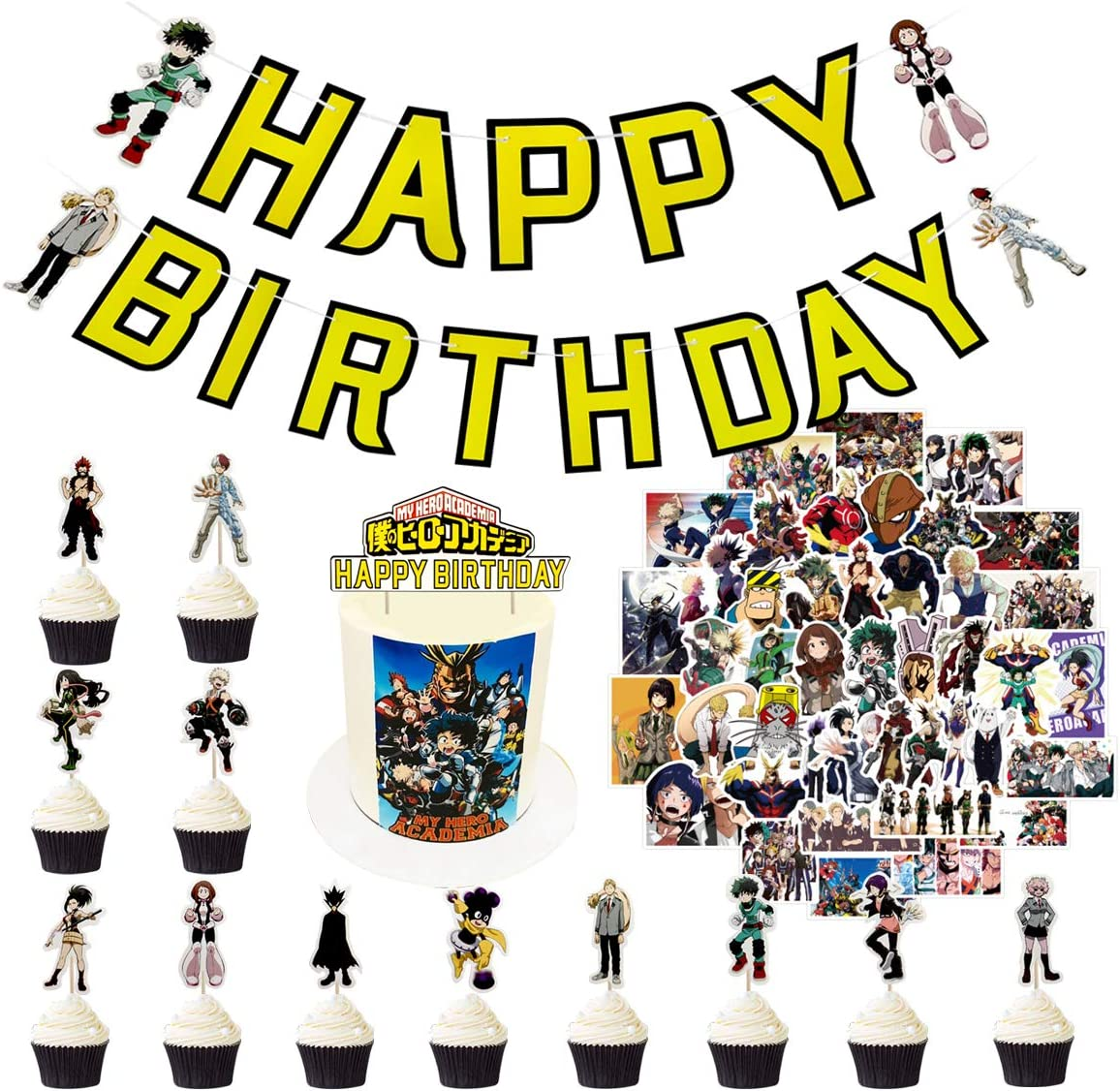 My Hero Academia Birthday Party Supplies,MHA Gift Set Include Happy Birthday Banner - Cake Toppers - 24 Cupcake Toppers - 50 Stickers,MHA Merch for Party Decoration