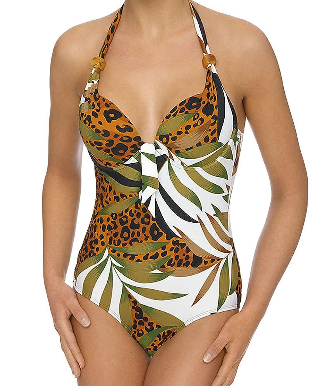 LingaDore Neckholder Swimsuit Badeanzug mit Bügel & Softschalen Einteiler Gr. 36 38 40 42 44 Cup B C D E (44 D, Palm)