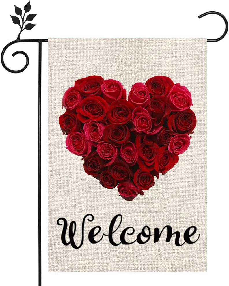 CROWNED BEAUTY Valentines Day Garden Flag 12×18 Inch Vertical Double Sided Valentine Rose Heart Welcome Flag for Outside Yard Anniversary Wedding Farmhouse Décor CF026-12