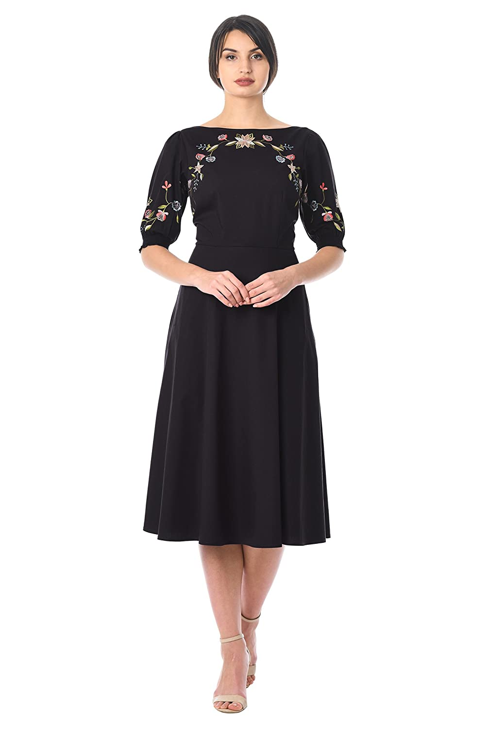 Vintage Evening Dresses and Formal Evening Gowns eShakti Womens Floral Embellished Poplin Dress $59.95 AT vintagedancer.com