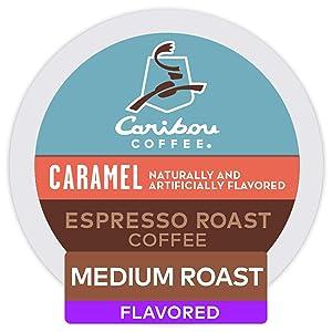 Keurig Caribou Coffee Caramel Espresso Roast Coffee, Single-Serve Keurig Coffee K-Cup Pods, Flavored Medium Roast Coffee, 48 Count