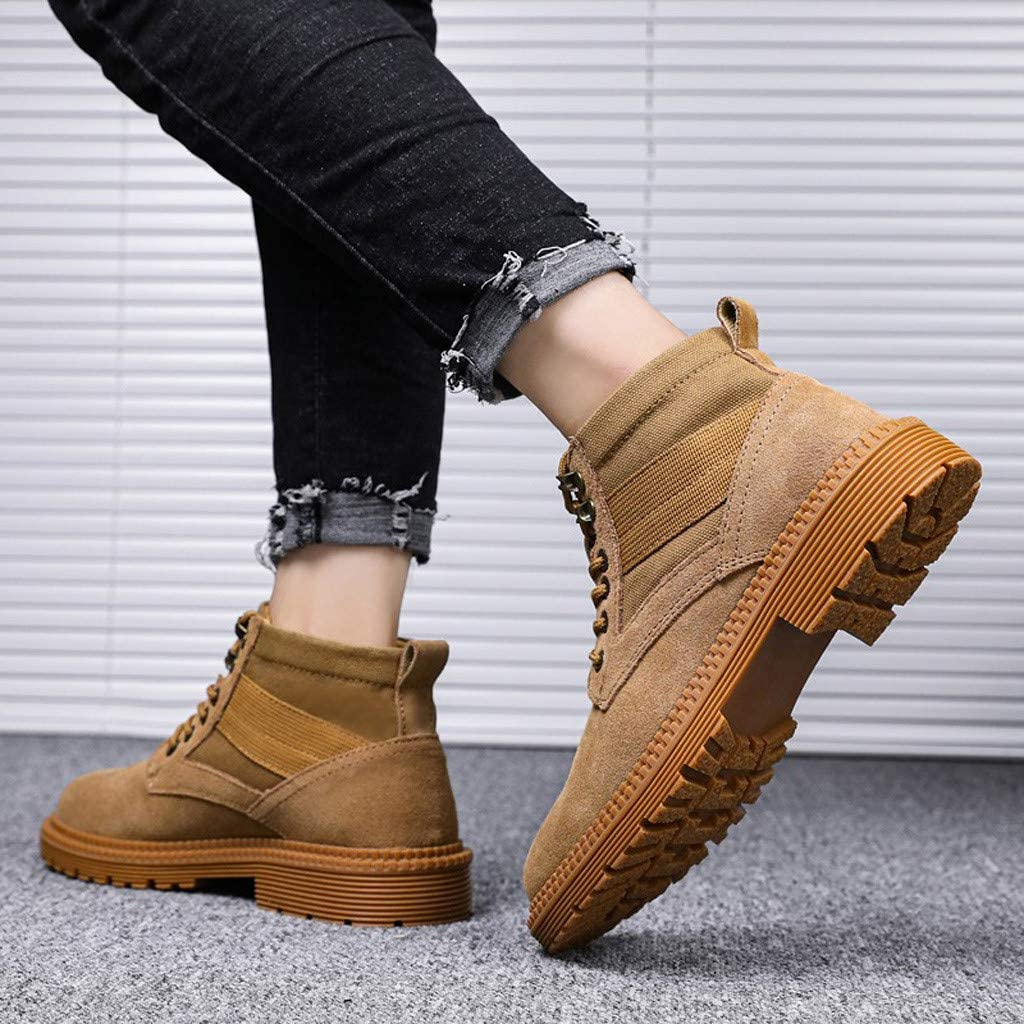 High Top Boots for Men Casual Leather Lace up Outdoor Ankle Work Shoes