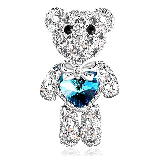 PLATO H Cute Animal Brooch Lovely Bear Heart Brooch & Pins with Swarovski  Crystals, Blue Crystal Bear Brooch, Teddy Bear Crystal Brooch