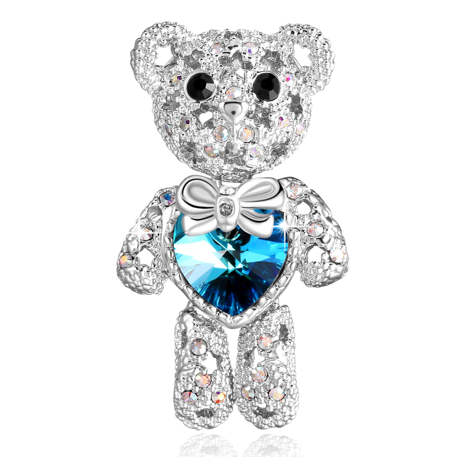 PLATO H Cute Animal Brooch Lovely Bear Heart Brooch & Pins with Swarovski Crystals, Fashion Jewelry Gift for Women,, Blue Crystal Bear Brooch