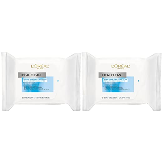 L'Oreal Paris Skin Care Ideal Clean Makeup Removing Facial Towelettes, 2 Count