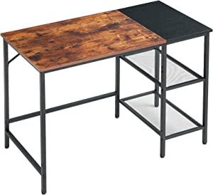 YMYNY Computer Desk with 2 Adjustable Storage Shelves, 39 Inch Industrial Writing Desk for Home Office Work, Wood Look PC Workstation Gaming Table, Stable Metal Frame, Rustic Brown UHTMJ32SHB