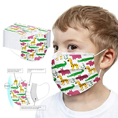 Imagen deMrTom Niños 𝐌𝐚𝐬𝐜𝐚𝐫𝐢𝐥𝐥𝐚𝐬 Desechables de Filtro de 3 Capas con Pendientes Elásticos, 50 unidades, Dibujos Animados patrón (Crocodile)