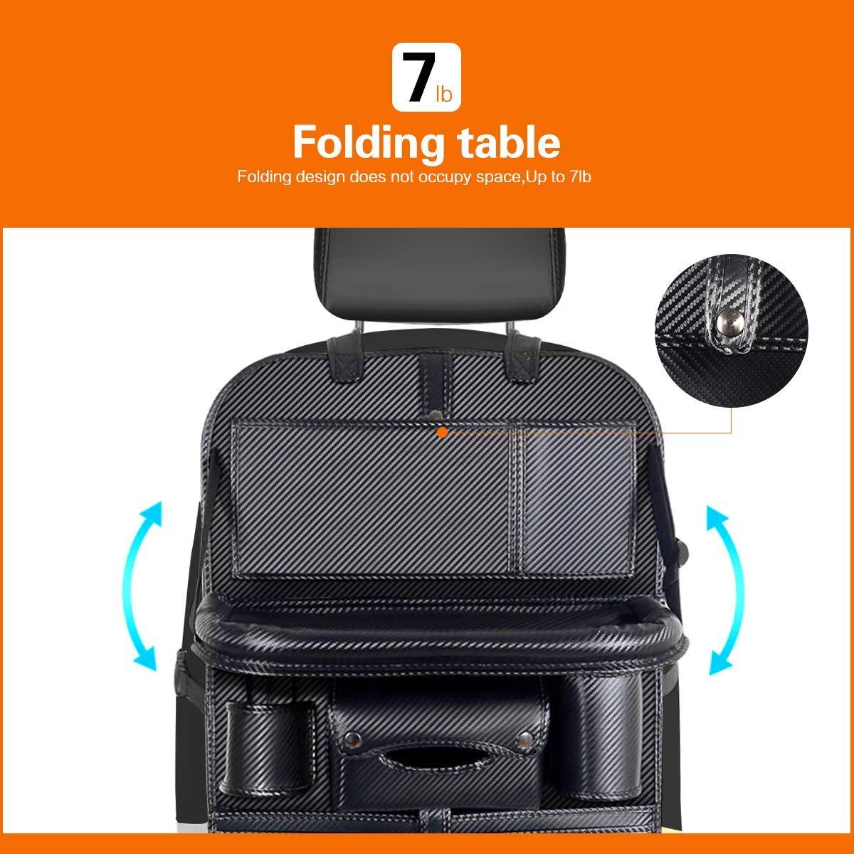 Tissue Box Car Backseat Organizer with 4 USB Port iPad Phone Umbrella Bag Multifunctional Premium PU Leather Travel Car Storage Bags with Foldable Tray 3 Mesh Bags 1 Large Bag