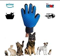 PetLove Gadgets Guante Cepillado Removedor de Pelo de Baño Mascotas Higiene. Masaje Relajador Mejora la Circulacion Mascotas Gatos, Perros, Caballos, Conejos. Diseño Suave Facil de Usar.