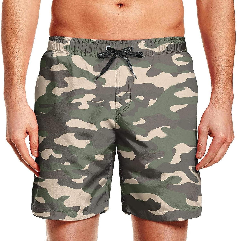 Mens Classic Camo Fashion Camouflage Swim Trunks Summer Beach Shorts Ruched Board Shorts