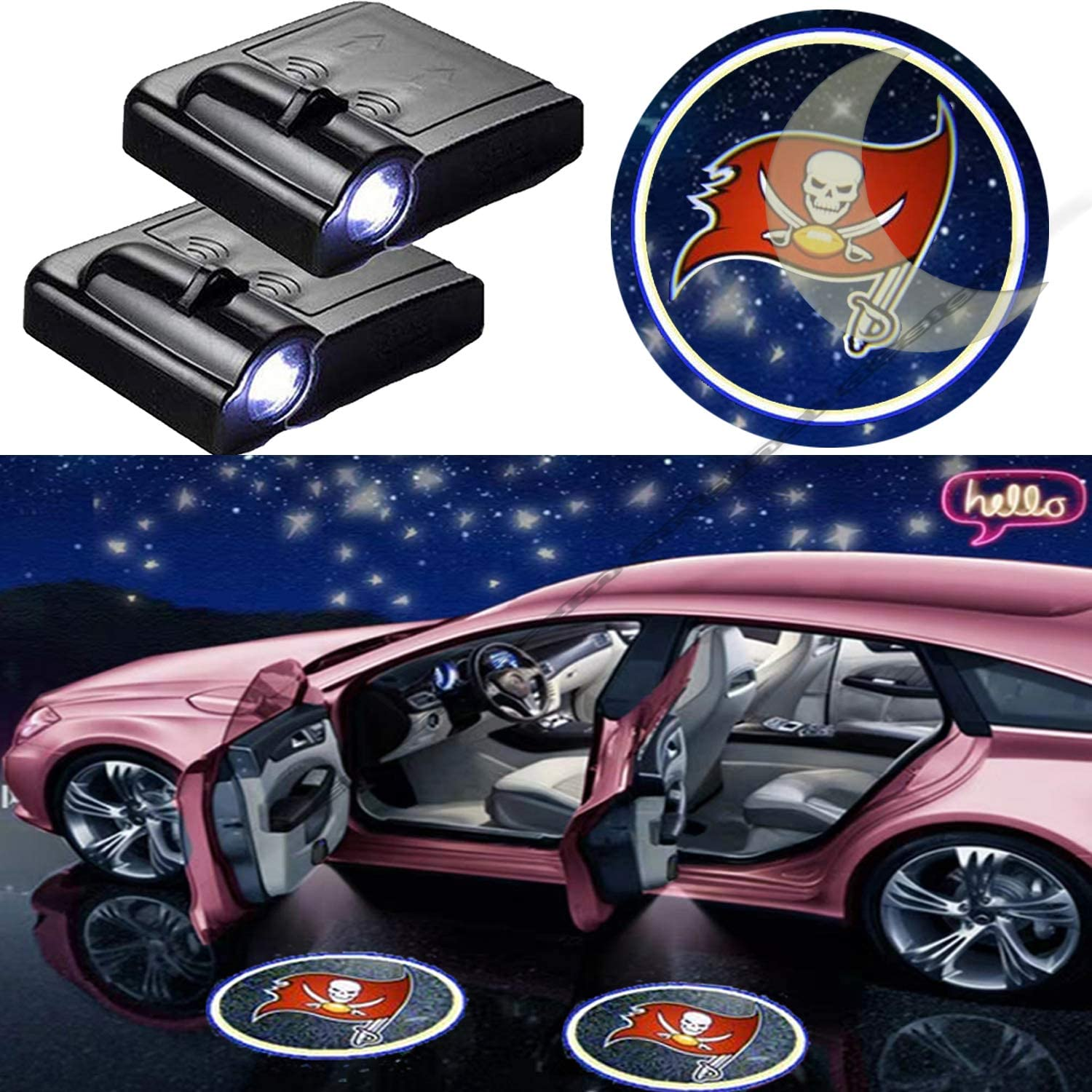 for Pittsburgh Steelers Car Door Led Welcome Laser Projector Suitable Fit for All Brands of Cars Pittsburgh Steelers KENPENRI LED Door Projector Light