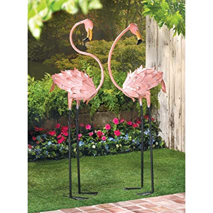 Amazon.com: Flamingos Garden Decor Flamboyant Flamingo Garden Stakes ...