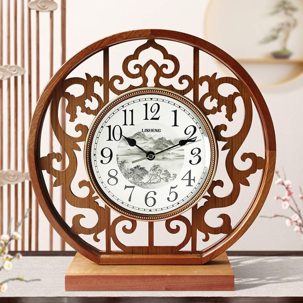 CXQ Chinese Style Solid Wood Clock Clock Living Room Simple Desktop Silent Quartz Clock Art Desk Clock (Color : Light Color) by CXQ (Image #1)