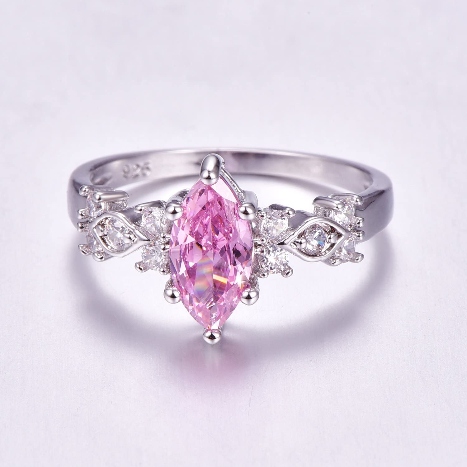 Psiroy 925 Sterling Silver Created Pink Topaz Filled Marquise Promise Ring for Her