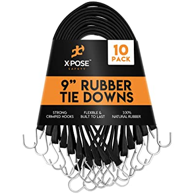 """Rubber Bungee Cords with Hooks 10 Pack 9 Inch (18"""" Max Stretch) Heavy-Duty Black Tie Down Straps for Outdoor, Tarp Covers, Canvas Canopies, Motorcycle, and Cargo - by Xpose Safety [5Bkhe1010763]"""