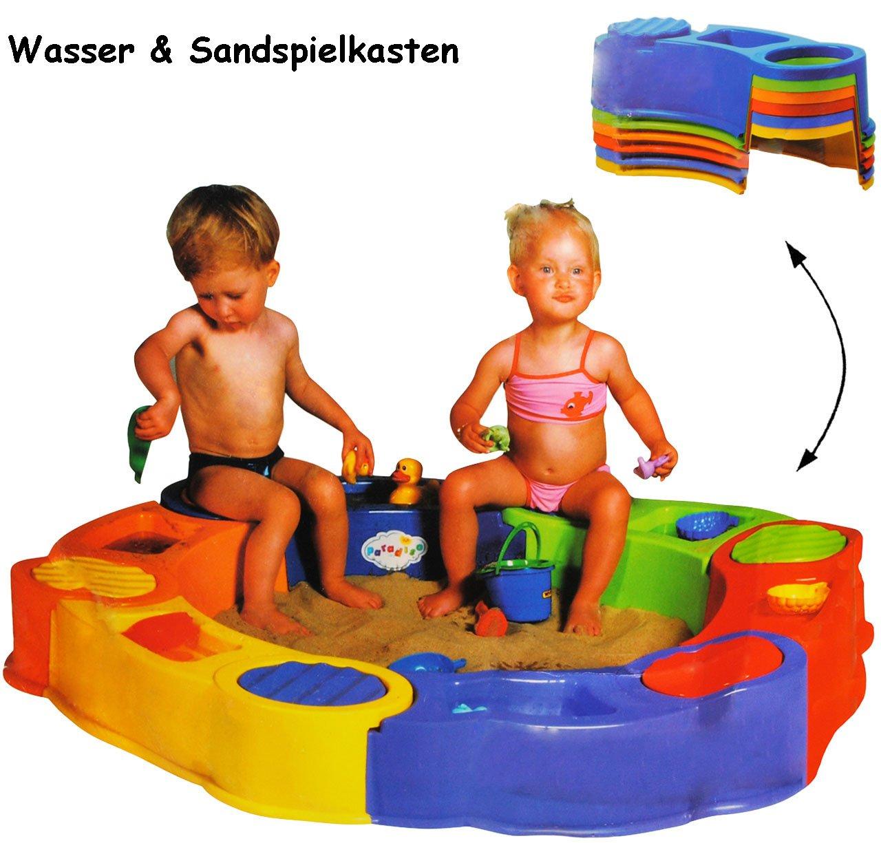 großer Sandkasten mit Wasser & Spielfächern -  bunt  - Ø 141 cm - 6 eckig - aus Kunststoff zum Stecken - mit Abdeckplane / Kunststoffsandkasten - Sandspielkasten mit Sitzfläche & Plane / Deckel / Dach - Sandkiste - Plastiksandkasten - Wasserlandschaft - Gartenspielzeug - Wasserbecken - Spielzeug Ablage / Strandspielzeug - Sandspielzeug - Wasserspielzeug - Paradiso