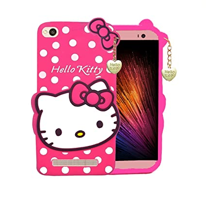 best loved b7fe9 366bb Finaux 3D Cute Hello Kitty Silicone with Pendant Back Case Cover for Xiaomi  Redmi MI 4A