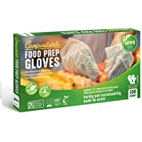 UNNI 100% Compostable Food Prep Gloves, Restaurant-Quality, for Food Handling, Powder-Free, 100 Count, Large, Earth…
