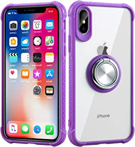 DICHEER iPhone X Case,iPhone Xs Case,Slim Fit Thin Clear Bumper Glossy TPU Cute for Women Girls Soft Rubber Silicon Cover Protective Case for iPhone X/iPhone Xs (Ring Holder-Purple)